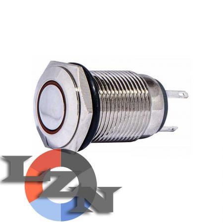 Кнопка металлическая TYJ 16-261 1NO+1NC (с подсветкой) красная - фото