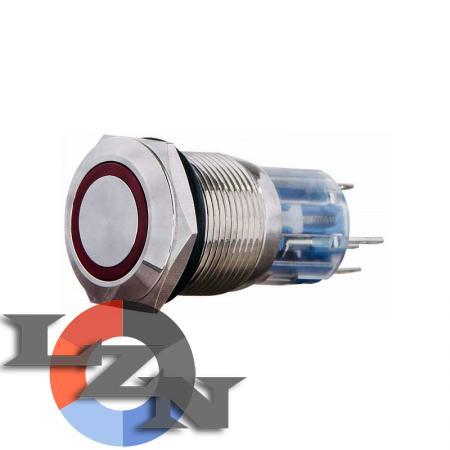 Кнопка металлическая TYJ 19-372 (с подсветкой) красная - фото